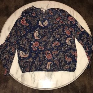 Paisley Womens Long Bell Sleeve Top